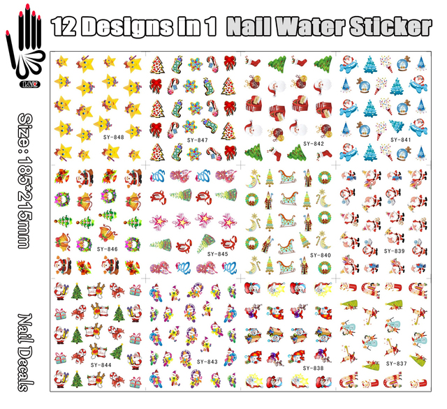 12 Hojas/porción Etiqueta Del Agua Del Clavo SY837-848 Noel Mix Regalo de Navidad Etiqueta de Transferencia de Agua del Arte del clavo Para El Clavo (12 DISEÑOS EN 1)