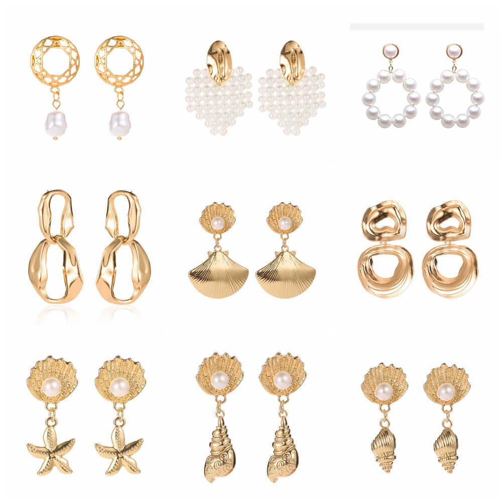 2019 Trendy Pearl Earrings Korea Design Metal Gold Geometric Irregular Natural Freshwater Pearl Drop Earrings for Women Jewelry
