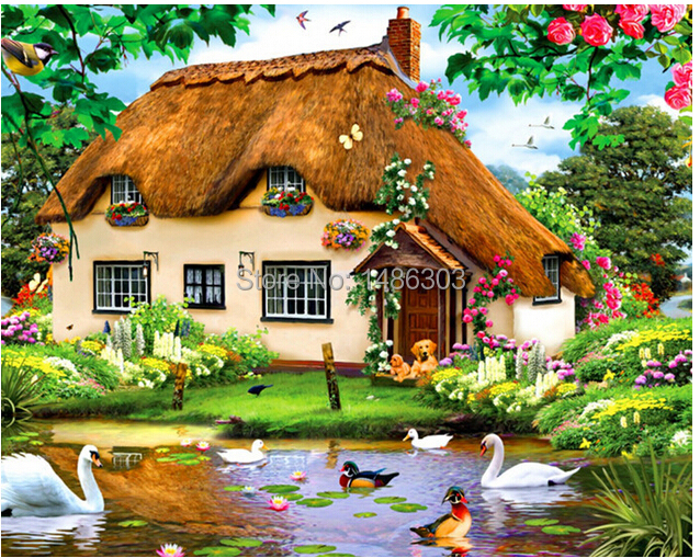 3d Diy Diamond Painting Beautiful Dream House Garden