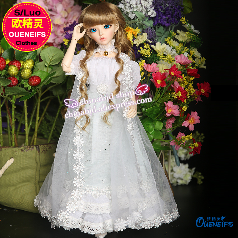 OUENEIFS girl long dress Net yarn coat lace edge Accessorie 1/4 bjd sd  doll clothes  have not bjd sd doll or wig YF4-64 oueneifs bjd clothe sd doll 1 4 clothes girl boy baby long hooded jumpsuit hyoma chuzzl send socks luts volks iplehouse switch