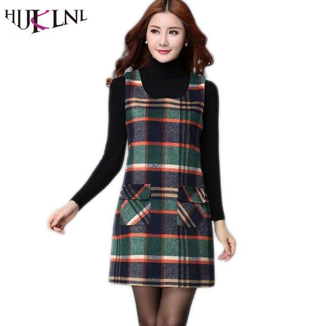 Hijklnl Womens Dresses Winter Women S Plaid Vest Plus Size Dress