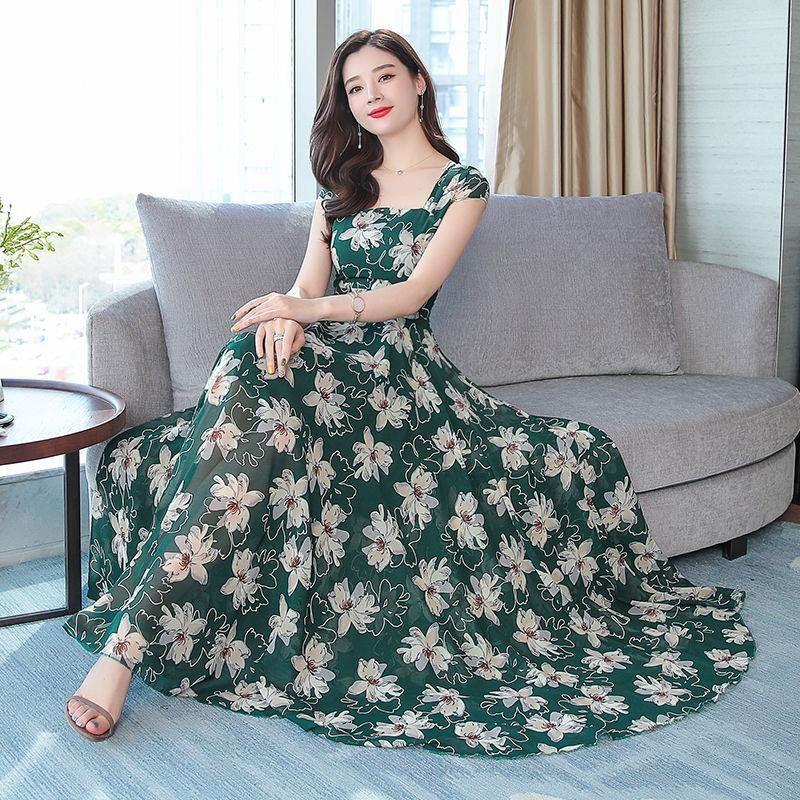 2019 New Summer Women Floral Print Chiffon Maxi Dress Female Square Collar Swing Dresses Lady Party Beach Draped Vestidos Y117 5