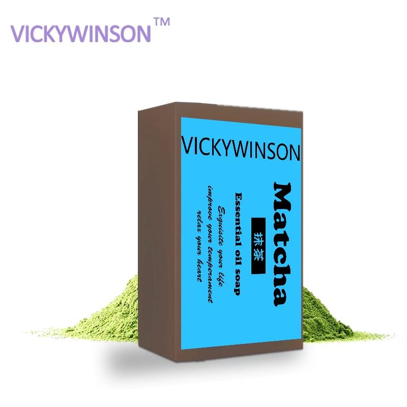 VICKYWINSON Organic Handmade Soap Matcha Milk Powder Soap Whitening Moisturizing Cleansing Oil-control Acne Treatment Soap XZ6