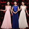 2016 nueva moda de color Champán más tamaño largo real madred jersey diseño partido de la gasa elegante vestidos de dama de honor