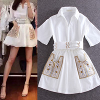 Women Casual Turn down Collar Belted Waist Dress Embroidery Pockets White Cheap Dress
