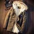 Moda inverno Dos Homens engrossar Parkas Homem jaquetas militares encapuzados gola de pele quente casacos Tendência Forro da Pele do Falso Outwear 5XL Tamanho