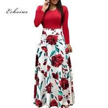 Echoine Women Dress Floral Print Patchwork O-Neck Short Sleeve Slim Long Maxi Bodycon Dresses Plus Size Ladies Elegant Vestidos