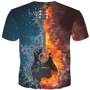 Image 2 - YFFUSHI Male 3D T shirt Fashion Fire and Ice Print Male /Female T shirt Guitar  Print Heavy Music Band Tee Plus Size 5XL