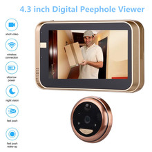 Peephole Door Camera 4.3 Inch Color Screen With Electronic Doorbell LED Lights Video Door Viewer Video-eye Home Security newest x8 2 4 inch tft color screen display home smart doorbell security door peephole camera electronic cat eye