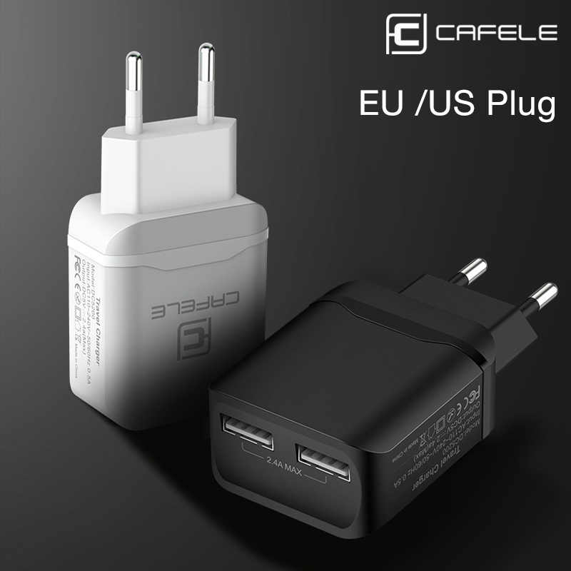 CAFELE USB Charger EU US Plug Adapter Travel Charging Charger USB 2.4A Dual Output Universal Charger Smart Phone Charger