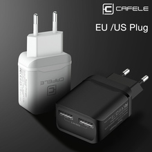 CAFELE USB Charger EU US Plug Adapter Travel Charging 2.4A Dual Output Universal Smart Phone