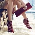 2017 Hot Sales Summer Fashion 2 Colors 10 cm Thin Heels Fretwork Black/Burgundy Beach Party Sandals Peep Toe High Heels Shoes