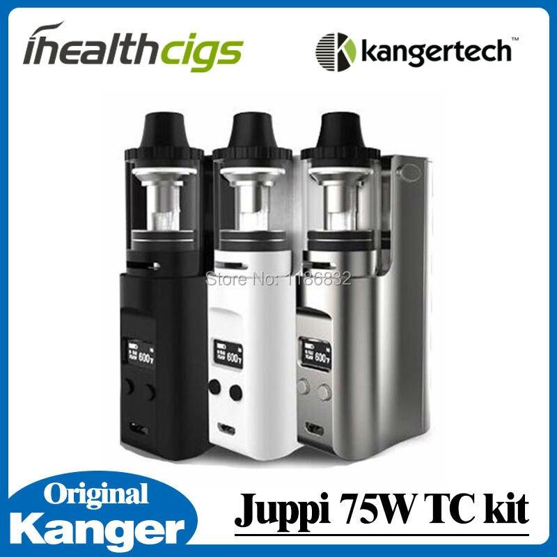 100% Оригинальные kanger juppi 75 Вт TC Starter Kit Поддержка Ni/Ti/SS316 провода работает с 3 мл резервуар для вейпа симметричные слотов потока
