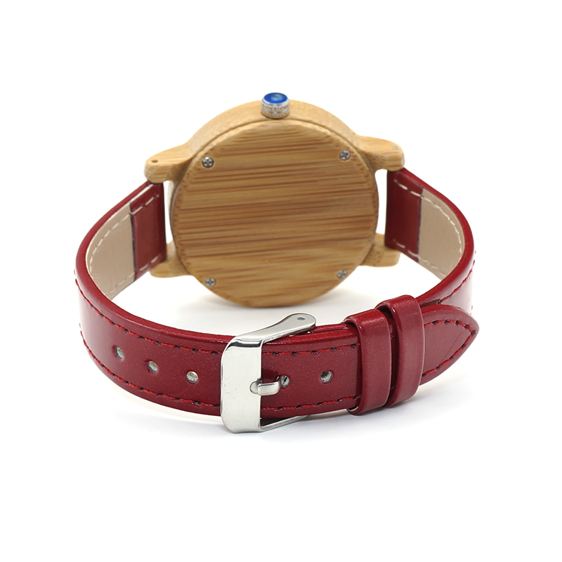 Image 5 - BOBO BIRD WJ09 Simple Style Bamboo Women Watch Bamboo Dial Genuine Red PU Leather Band Quartz Watches Relojes mujer Accept OEMmujermujer reloj  -