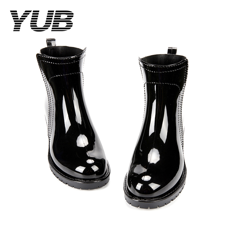 YUB Brand Lady's Ankle Rain Boots PVC Waterproof Rubber Shoes with Solid Color Slip-On Winter Boots for Women yub brand waterproof rain boots for women with solid color slip on winter mid calf shoes for girls