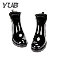 YUB Brand Lady S Ankle Rain Boots PVC Waterproof Rubber Shoes With Solid Color Slip On