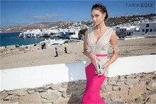 Neue Mode V-ausschnitt Formales Partei-kleid Bodenlangen Satin Meerjungfrau Abendkleid Flügelärmeln Sleeveless Heißer Verkauf Frauen Vestidos