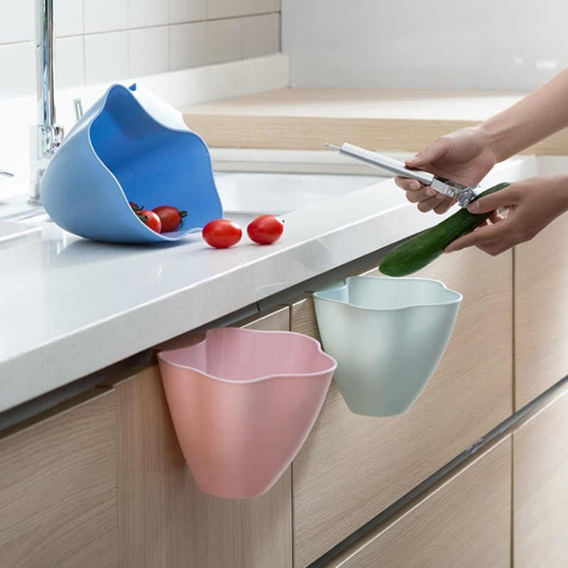 Cupboard Porta Hanging Trash Box Household Desktop Plastic Trash Cans Garbage Basket Kitchen Cabinet Door Garbage Organizer