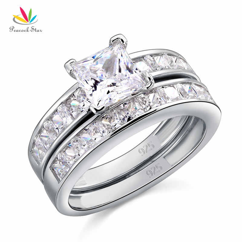 Estrela pavão Sólido 925 Sterling Silver Wedding Engagement Ring Set 1 2-Pcs Ct do Corte Da Princesa Jóias CFR8020