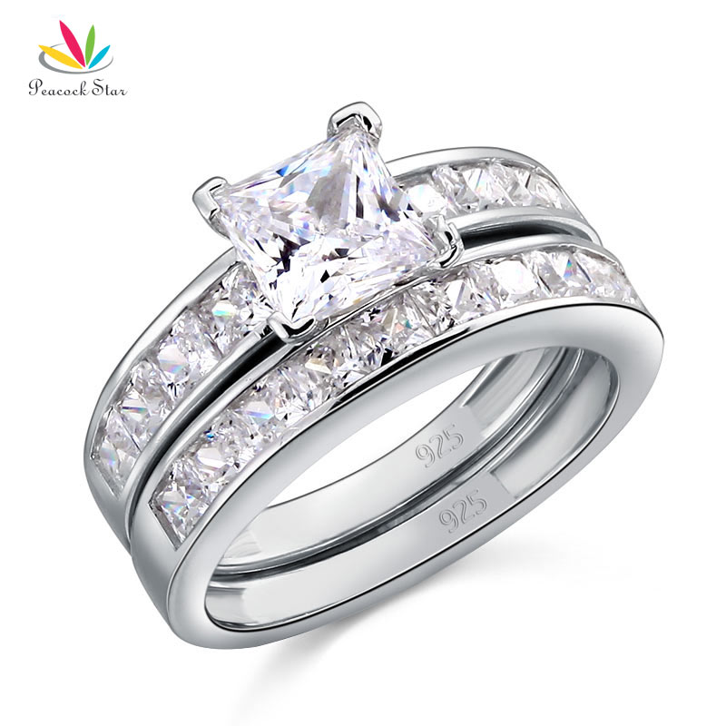 Peacock Star Solid 925 Sterling Silver 2 Pcs Wedding Engagement Ring Set 1 Ct Princess Cut