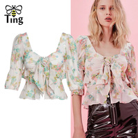 Tingfly Fashion Women Women Crop Tops with Bow Sexy Square Neck Sequined Floral Short Blouses Lady Casual Streetwear Shirt Femal