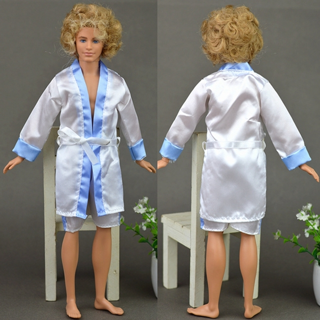 2pcs/set Bedroom Pajamas Robe Nighty Bathrobe Clothes For Barbie Dolls Robe & Shorts For Ken BJD Doll Child Kids Best toys gift