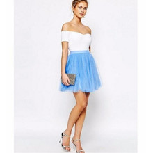 Summer Mini Tutu Skirt Above Knee Short Blue Tulle Skirt Fashion Simple Women Skirt high quality fashion bridesmaid skirt