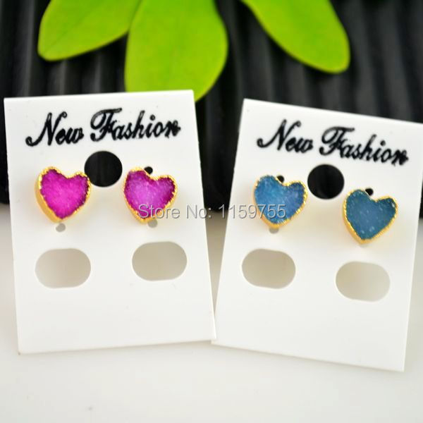 Jewellery Making 3 Pair Love Heart Shape Earrings,Fashion Nature Stones Stud Earrings, Gold Color Earrings
