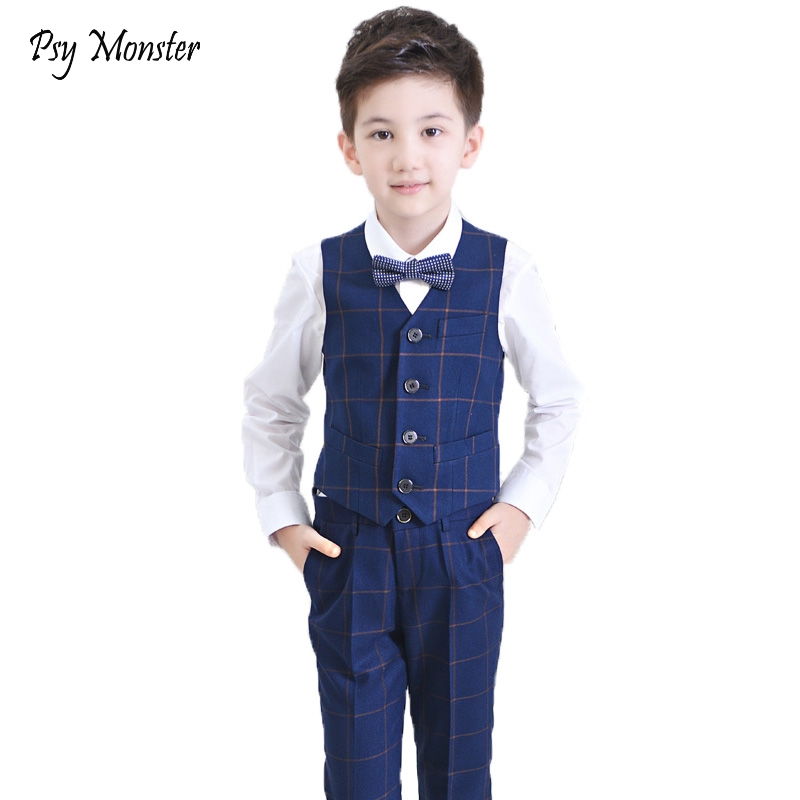 2018 Brand Flower Boys Vest Waistcoat Pant Shirt 4Pcs Set Kids Tuxedo Suit Baby Wedding Birthday Formal Dress Clothing Set F34 мужские часы pierre ricaud p91082 1113q