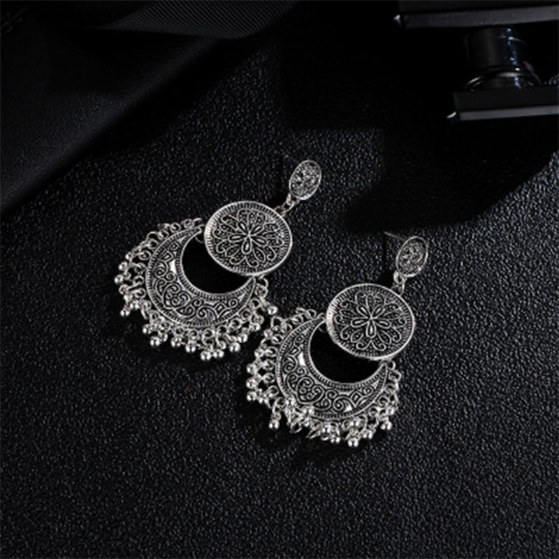 Vintage Ethnic Indian Earrings For Women Boho Hollow Crescent Carved Flower Round Tassel Drop Earrings kolczyki brincos WD321 in Drop Earrings from Jewelry Accessories