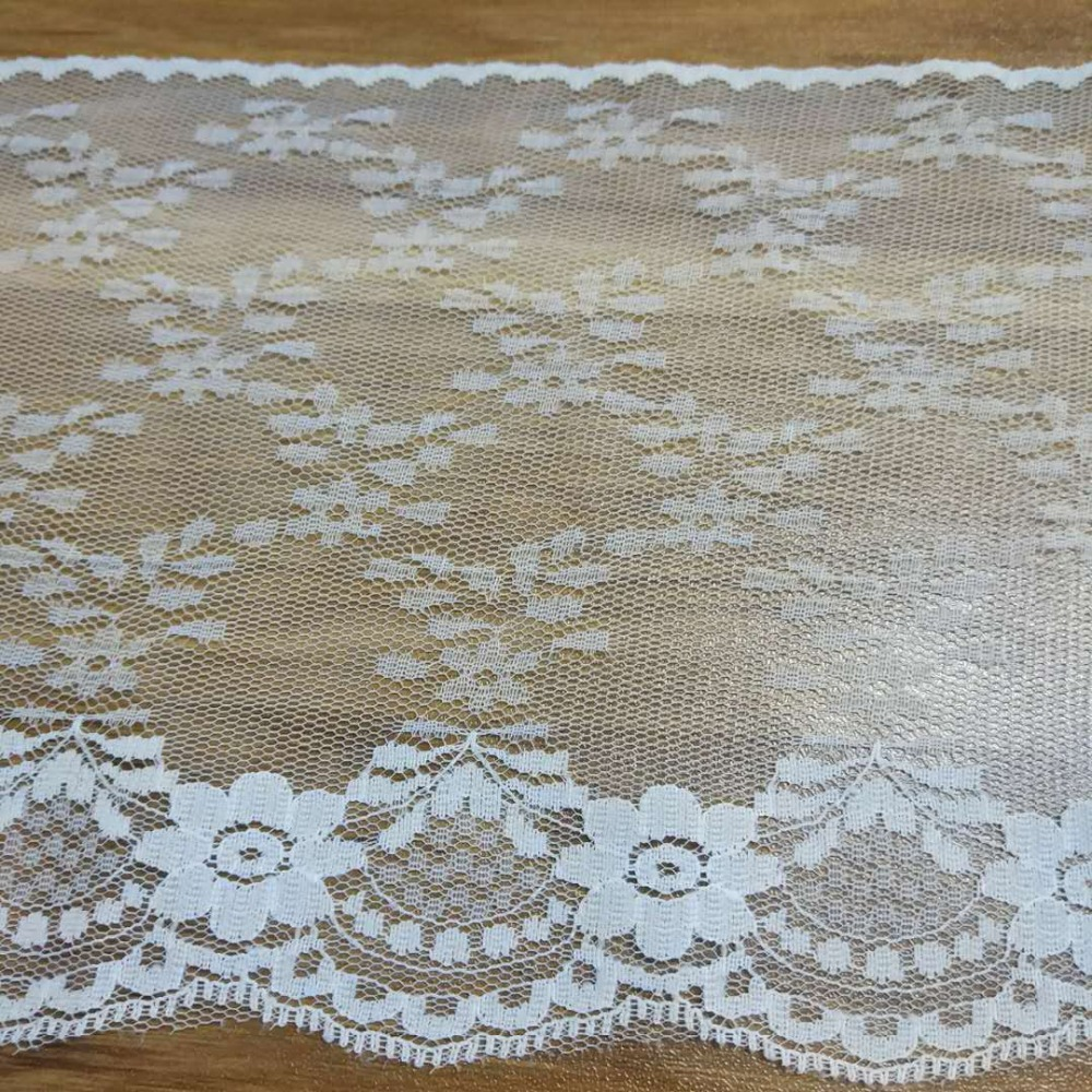 100 yards Nylon Lace Accessories 15.5cm Width Non-Stretch Sewing lace For Wedding Decoration White Black Mesh
