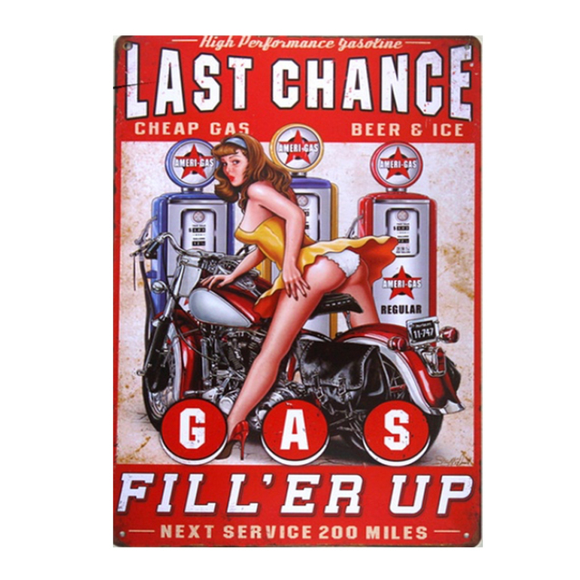 Last Chance Gas Metal Sign Vintage Garage Wall Art Pin Up Poster Coffee Bar Home