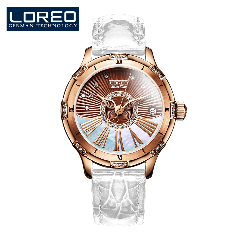 цены LOREO luxury brand Austria Diamond automatic mechanical Pearl dial inlay diamond sapphire calendar water resistant lady watch