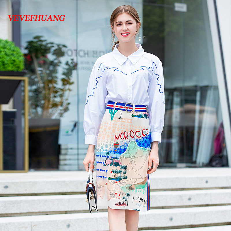 VEVEFHUANG Autumn New Women's Fashion Suit White 3/4 Sleeve Embroidered Shirt +Map Print Package Hip Skirt Two-piece Sets Suits