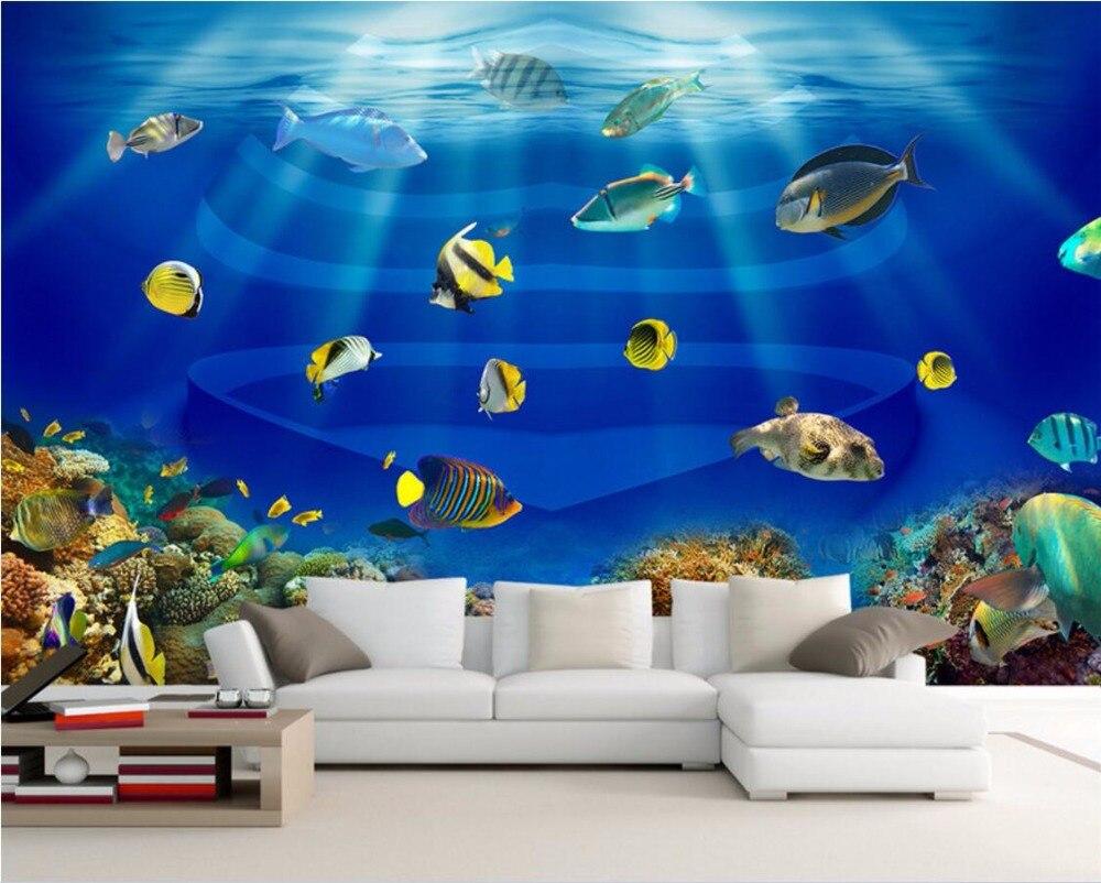 US $14 91 OFF 3d Wallpaper Kustom Mural Sinar Matahari Laut Ikan Kertas Dinding Dekorasi Lukisan 3d Dinding Mural Wallpaper Untuk Dinding 3