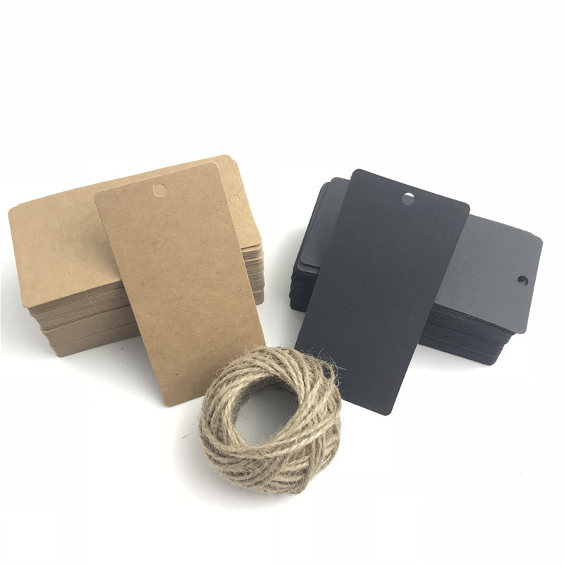100pcs/lot Black Brown Kraft Paper Tags Party Cards Luggage Wedding Note Invitations Blank Price Hang Tag 10*5cm 15m Rope