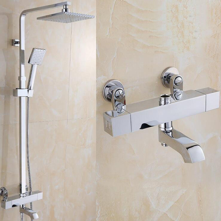 Brass shower faucet thermostatic mixing valve, Bathroom thermostatic shower faucet shower head, Wall mounted shower faucet mixer polished chrome wall mount temperature control shower faucet set brass thermostatic mixer valve with handshower