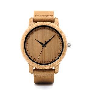 Image 2 - BOBO kuş erkek bambu saatler lüks marka hakiki deri kayış Analog ahşap Quartz saat Casual saatler bayanlar kol saati C A09