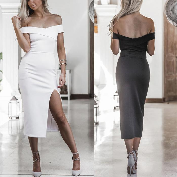 0a433c9fe7b Sexy Women Off Shoulder Cross Dress Stretch Short Sleeve Elegant Bodycon  Side Split Party Dresses -MX8. Description