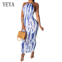 YEYA Fashion Sexy Striped Print Sleeveless Halter Dress Elegant Backless Hollow Out Maxi Women Summer Bohemian Beach