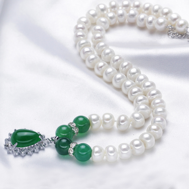 Genuine Green Agate Pearl Necklace