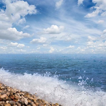 5x7ft studio scenic backdrops Beautiful Sea Picture Blue Sky & White Clouds Photos Backgrounds Vinyl beautiful ocean