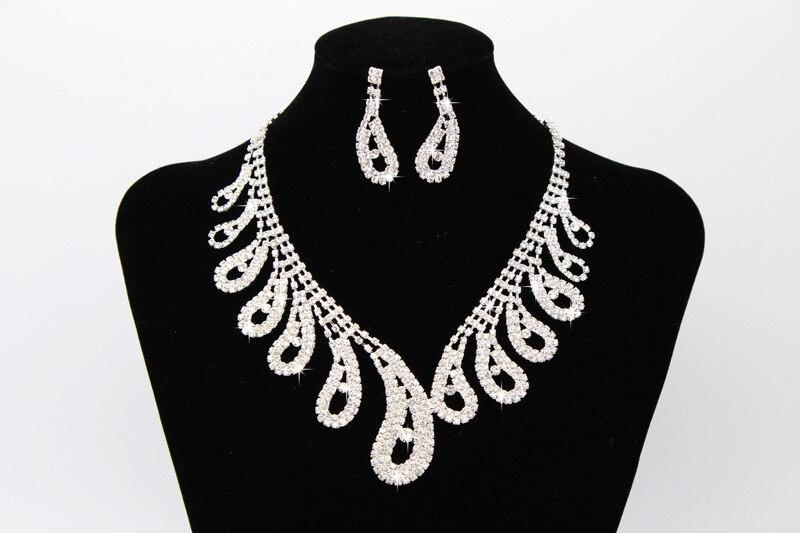 Moda Africano Conjuntos de Jóias para As Mulheres Folha Conjuntos de Jóias Nupcial Do Casamento de Cristal Rhinestone Colar Brincos (4)