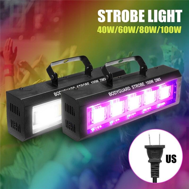 40/60/80/100W DMX512 LED stroboscopique scène clignotant barre d'éclairage Disco DJ KTV son activé lampe effet de scène éclairage US Plug