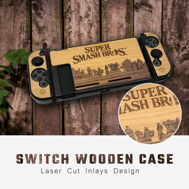 Dustproof Protective Case Cover For Nintend Switch Console Wood Case Anti-Slip Shell 3 Part Design Separated Carry Case