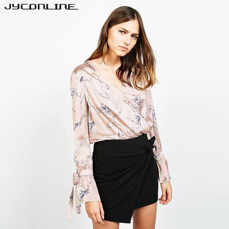 JYConline Moda Impresión Floral de La Blusa de Satén Suave Verano Tops Arco de M