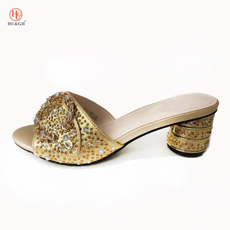 Latest Women Golden Slipper Elegant Italian Women Sandals Shoes for Parties African Wedding High Heels Slip on Women Pumps Shoes