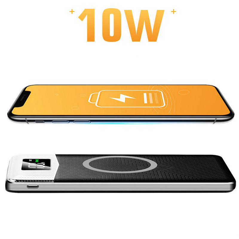 10000 mAh Drahtlose Ladegerät Power Bateria Externe Tragbare mit LED Licht Wireless Power Bank Dual USB Power Bank Für Huawei