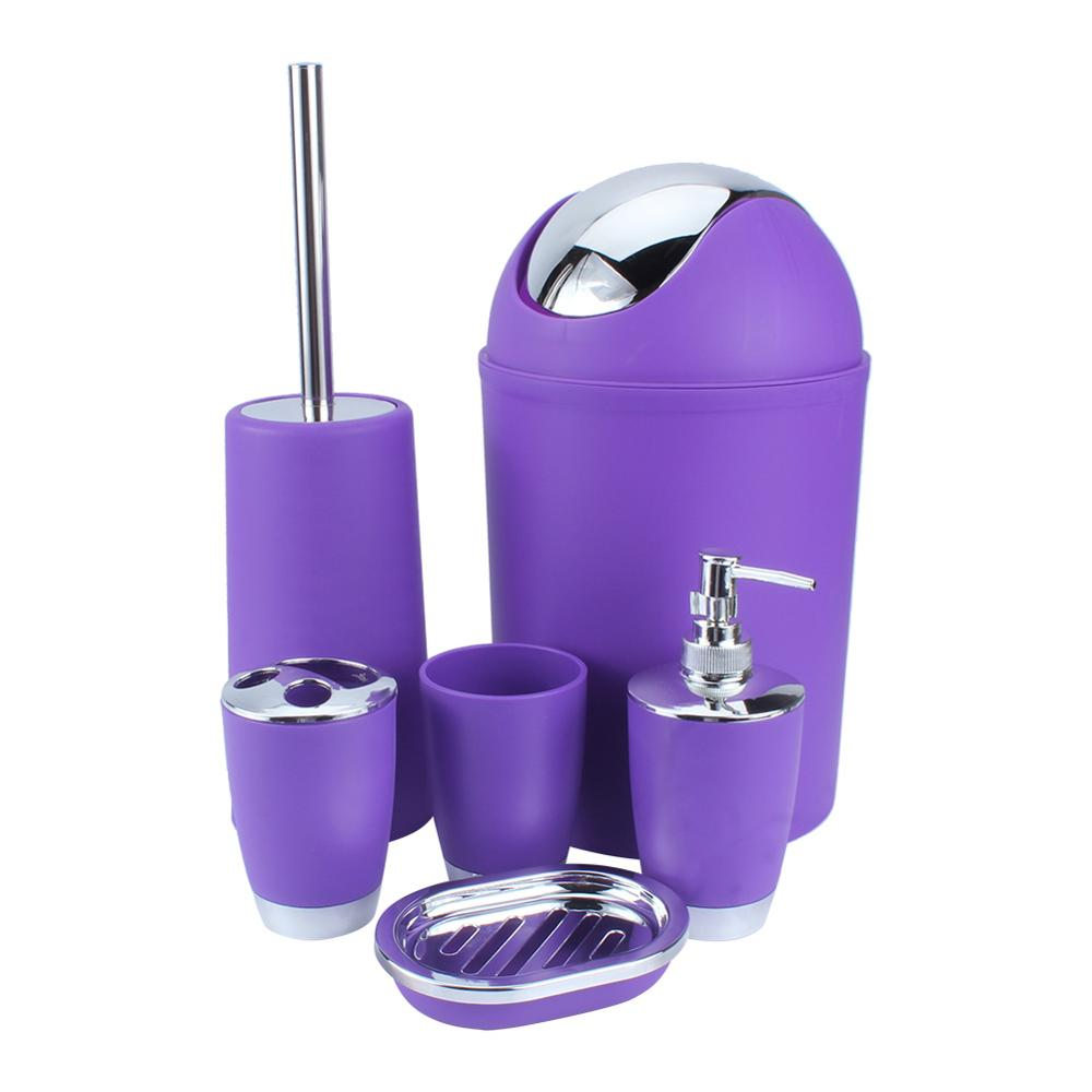 6Pcs New Bathroom Accessory Bin Soap Dish Dispenser Tumbler Toothbrush Holder purple image