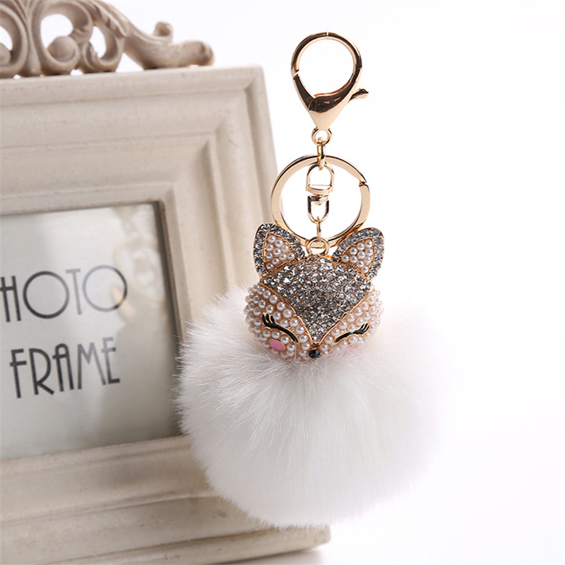 2017 New Artificial Rabbit Fur Ball Keychain Rhinestone Crystal Fox Head Pompon Trinket Key Chain Handbag Fluffy Key Ring Holder 7